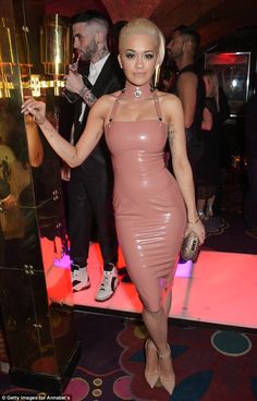 Before the big surprise: Rita showed off her toned body with nude heels to match it...