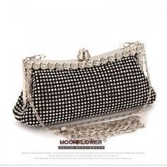 Women's Clutch Bag Punk Dumpling Shape Full Evening Bag Party Purse Black/Gold/Silver With Shoulder Chain NO853