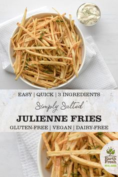 These Simply Salted Julienne Fries are the perfect recipe for a snack or side dish. EASY. HEALTHY. 3-INGREDIENTS. GLUTEN-FREE. DAIRY-FREE. VEGAN. RECIPE. FOOD. POTATOES. EARTHFRESH. Side Dish Recipes, Easy Recipes, Side Dishes, Snack Recipes, Easy Meals, Dairy Free Recipes, Vegan Gluten Free, Vegetarian Recipes, Vegetarische Rezepte