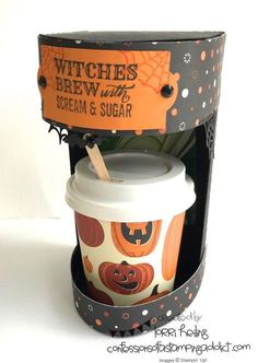 Halloween Keurig Coffee Maker Tutorial :: Confessions of a Stamping Addict - Coffee Maker - Ideas of Coffee Maker Halloween Paper Crafts, Halloween Cards, Halloween Projects, 3d Projects, Halloween Favors, Halloween 2016, Coffee Cup Crafts, Coffee Gifts, Coffee Drinks