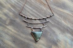 Triangular copper necklace, green gemstone, concise necklace, geometric jewelry, simple lines