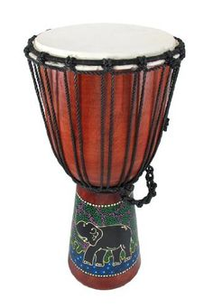"9"" X 19"" Aboriginal Drum Djembe Dot Painted Drums by Private Label. $39.99. This beautiful 19 inch tall Aboriginal style djembe (native drum) make an awesome decorative piece for themed rooms, but is also quite playable. The approximately 9 inch diameter head is made of natural goat skin, and the drum is hand-tightened using nylon cord. Additional nylon cord is braided to make a handle for the djembe. The bottom of the drum is hand-painted, using the traditional Aboriginal dot..."