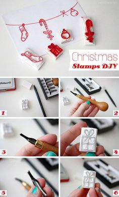 Love this #DIY Christmas Stamps card idea...but know that I'll probably lose them between every Christmas!