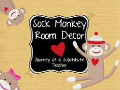 Sock Monkey Room Decor Pack from Journey of a Substitute T on TeachersNotebook.com (105 pages)