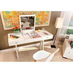 Penteadeira Escrivaninha com Espelho Adessa - Branco 319,00