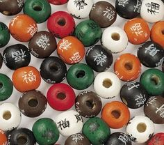Today's feature product: Chinese Character Beads for Crafts (Set of 300)    These colorful craft beads are perfect for arts and crafts or part of a party activity. Each bead has a different Chinese character on it. Facts and features:    • Beads are made from wood  • Sold in a set of 300  • Sold in random colors  • Bead size: 9mm    http://www.asianideas.com/chinesecharacterbeads.html