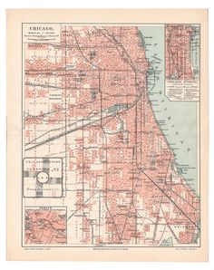 Antique map Vintage map of Chicago Archival by AncientShades