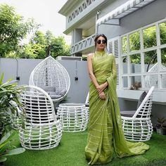 Challenge the fashion game by draping yourself in our bright green saree with delicate gota rhythm all over ☘️ just gave… Saree Blouse Patterns, Saree Blouse Designs, Indian Attire, Indian Wear, Indian Dresses, Indian Outfits, Modern Saree, Sari Dress, Stylish Sarees