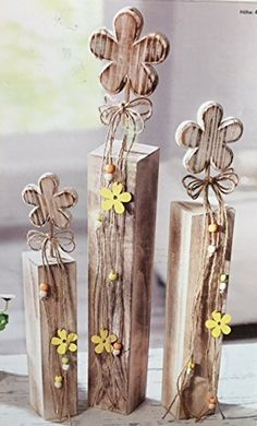 3 Holz Deko Sockel Blumen Säulen Frühling Sommer Ostern Fenster Shabby  Frühlings  Deko Frühling Fensterbank Deko Frühling Hauseingang Frühlingsdeko  ...