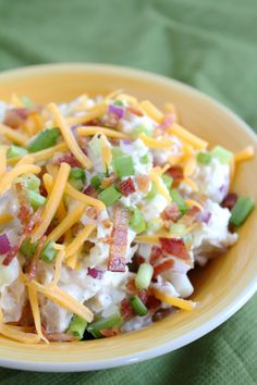 This loaded baked potato salad recipe is hearty and filled with bacon, green onions and topped with shredded cheese. Perfect for your upcoming BBQ. Loaded Baked Potato Salad, Baked Potato Recipes, Loaded Potato, Quiche Recipes, Casserole Recipes, Summer Salads, Summer Bbq, Cooking Recipes, Healthy Recipes
