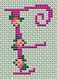 Small roses alphabet - free cross stitch patterns and charts - www.free-cross-stitch.rucniprace.cz