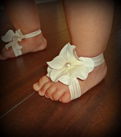 Baby Barefoot Sandals & Headband Barefoot Sandals by SecretBlossom, $12.99