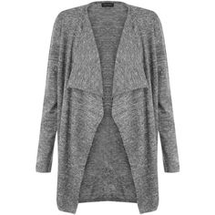 New Look Dark Grey Textured Waterfall Cardigan ($20) ❤ liked on Polyvore featuring tops, cardigans, jackets, black pattern, long sleeve cardigan, pattern tops, dark grey cardigan, waterfall cardigan and long sleeve tops