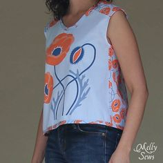 Crossback Top for Summer by Melly Sews featuring Modern Yardage fabric - free pattern!