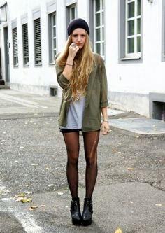 Reminds me of grunge. I'm curious to see how I could (or can't) pull off shorts with tights.