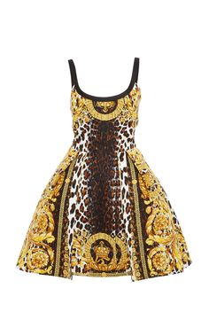 6c24d73ebae This   Versace   Flounced Printed Dress features a scoop neckline and an  allover baroque animal mix print.