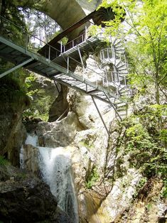Tscheppaschlucht ...Spiral staircase to the Devil's Bridge at Tscheppa Ravine near Ferlach, Carinthia, Austria - photo by Griensteidl, via Wikipedia