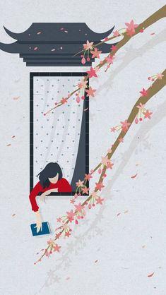 Sakura and girl illustration Gouache Illustrations, Girl Illustrations, Cute Wallpapers, Wallpaper Backgrounds, Wallpaper Desktop, Nature Wallpaper, Screen Wallpaper, Phone Wallpapers, Mobile Wallpaper