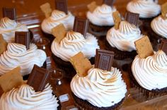 """These cupcakes really have it all. They start with a graham cracker crust on the bottom. Then a wonderful chocolate cake (Hershey's """"perfectly chocolate"""" recipe) and are topped off with a homemade marshmallow meringue frosting. They taste rich, chocolaty...just like a s'mores, only no campfire required :)"""