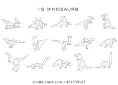 Geometric dinosaurs, vector