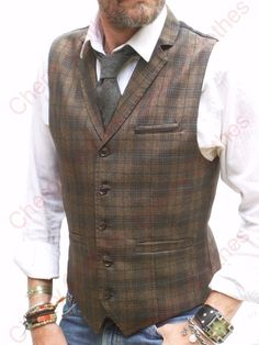 MENS BROWN & BLUE CHECK LAPEL COLLAR WAISTCOAT SLIM FIT VEST - ALL SIZES