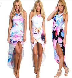 Luxuosos vestidos assimétricos estampa floral sem manga. Longo atrás e curto na frente, modelo traz sensualidade e elegância ao mesmo tempo.