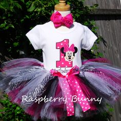 Minnie Mouse Birthday Tutu Outfit - Birthday Number Minnie Mouse Outfit with Hot Pink and Zebra Tutu