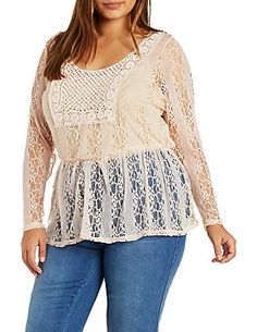 Plus Size Lace & Crochet Tunic Top