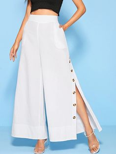 To find out about the Solid Side Slit Button Wide Leg Pants at SHEIN, part of our latest Pants ready to shop online today! Pop Fashion, Modern Fashion, Fashion Pants, Fashion Outfits, Side Slit Pants, Wide Leg Pants, Trousers Women, Pants For Women, Pantalon Large