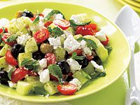 Trisha Yearwood Greek Olive Salad--more tomatoes no olives for me, but some olives for yours. Dressing on the side so we can eat for a few days without getting soggy.