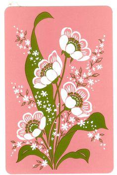1970's illustration. retro pink & green flowers.