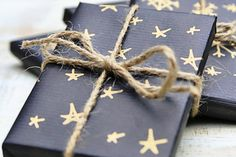 Black and gold are a lovely alternative to white and silver, as seen in this wrapping paper tutorial by Little Blue Boo.
