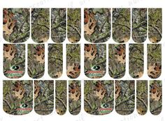 24 WATER SLIDE NAIL ART DECAL * MOSSY OAK INSPIRED CAMO GREEN * FULL NAIL COVER  #WaterSlideNailArt