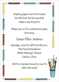 Colorful Teachers Heart Retirement Party Invite  Retirement