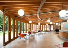 Foster Wilson Architects has converted a heritage-listed church in Bedford, England, into a theatre with a new curved timber and glass foyer bar Church Lobby, Church Foyer, Bedford England, Light And Space, Old English, The Fosters, Images, Architects, Gallery