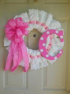 Baby Girl Pink Polka Dot and Chevron Diaper Wreath with Initial by TowerDoorDecor, $40.00