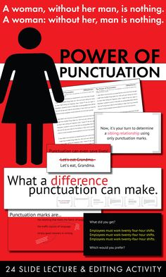 Entertain and educate students about the power of punctuation Grammar Activities, Teaching Grammar, Grammar Lessons, Teaching English, Grammar Sentences, Grammar And Punctuation, Spelling And Grammar, High School Literature, Ap Language