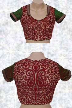 High Neck Net Blouse Green With Red