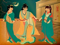 Syncopation -  Ukiyo-e style illustration     When I dream of dreams and reach out my hand, the dazzling dreams come and go around. Their rhythm is the syncopation of love. Draw the shape of love on the night sky!  #babymetal  #babymetalfanart  #syncopation