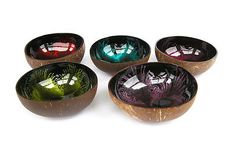 Fair #trade #coconut #shell lacquered bowl with droplet design bw4,  View more on the LINK: http://www.zeppy.io/product/gb/2/181771940638/