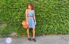 Couleur camel // Blog mode Bordeaux www.pompompidou.com #denim #dress #vintage #retro #sandals #texto #sac #bag #summer #outfit