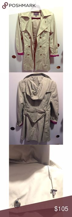 ‼️‼️LAST CALL FOR COLE HAAN Trench Coat ‼️‼️ Excellent detail work with detachable hood and magenta color lining. This a great trench for fall or spring.  Full collar double-breasted raincoat. This version has a stand collar for even more weather resistance. Color: Stone Material: Mid-weight water-resistant cotton blend woven. A hidden pocket on the inside. The coat is fully lined. The belt is included tied at the back side.  ‼️ Price is firm ‼️ Cole Haan Jackets & Coats Trench Coats
