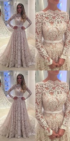 d9c49d6c44 Simple Scalloped-Edge Long Sleeves Sweep Train Lace Wedding Dress with Sash