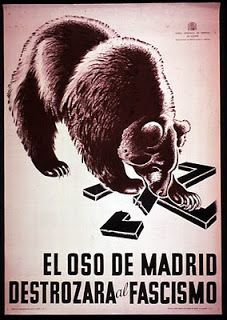 """Spain: """"The bear of Madrid will destroy fascism"""" Spanish civil war poster Protest Posters, Political Posters, Caricatures, Poster Creator, Propaganda Art, Communist Propaganda, Spanish Posters, Ap Spanish, Party Poster"""