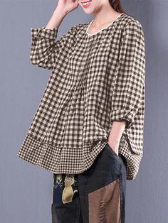 Only US$20.92 shop m-5xl plaid patchwork blouse at Banggood.com. Buy fashion blouses online. - Banggood Mobile