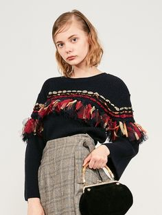 Pullover with ribbon fringe (pullover)   Lily Brown (Lily Brown)   Fashion mail order   Rabbit online official mail order site