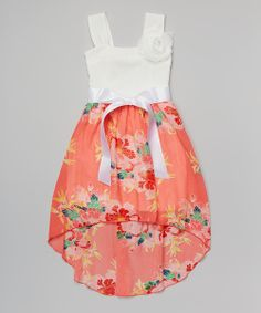 Take a look at the Coral Floral Sash Dress on #zulily today!