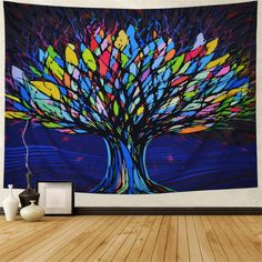 The Rainbow Tre Tapestry goes perfectly in any room in your home! Get the Rainbow Tree Tapestry today only at Tapestry Girls! Tree Of Life Tapestry, Tapestry Nature, Room Tapestry, Mandala Tapestry, Tapestries, Color Wheel Art, Stained Glass Crafts, Rock Painting Designs, Colorful Trees