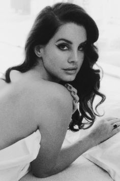 Lana Del Rey photoshoot in a bed