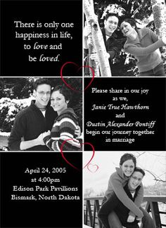 Black and White Photo Wedding Invitations. cute bc you'd actually want to frame it! Plan My Wedding, Wedding Save The Dates, Dream Wedding, Wedding Stuff, Wedding Ideas, Black And White Wedding Invitations, Photo Wedding Invitations, Engagement Pictures, Wedding Engagement